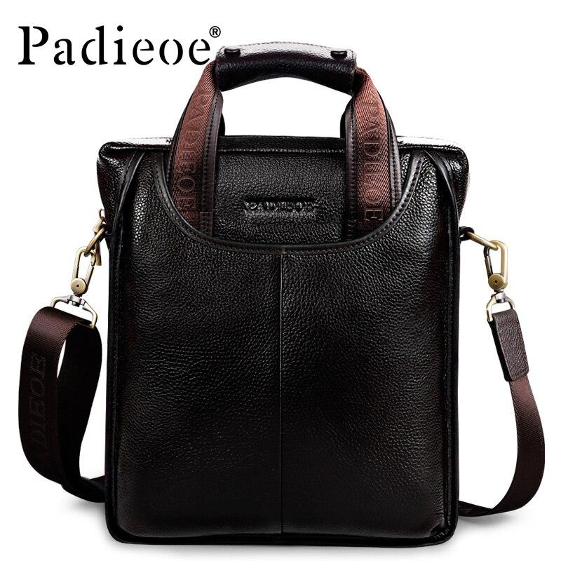 Padieoe Vintage Men Briefcase Genuine Leather Men Messenger Bags Fashion Male Tote Bags Leather Business Men Bag Shoulder Bags