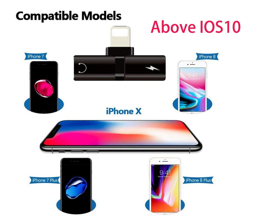 Suntaiho for iPhone 7 8 Plus Xs Max XR X Adapter 2 in 1 for lighting and for iPhone Earphone Jack Charger Adapter changer