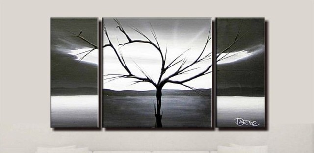 100% hand painted black white abstract art 3 panel canvas art framed ...