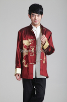Shanghai Story Long Sleeve Tang suit Chinese Traditional Double dragon embroidery Jacket mandarin collar Chinese Jacket 4 Color