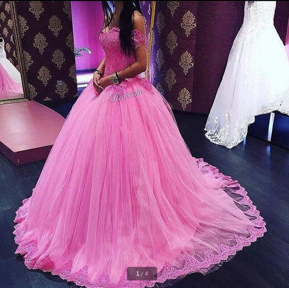 Shoulder Ball Gown Pink Prom Dresses Puffy