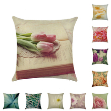 Floral Decorative Cushion Cover Linen Pillow Case Throw Printed Pillowcase Sofa Bed Car Home Decor