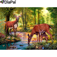 DIAPAI 100% Full Square/Round Drill 5D DIY Diamond Painting Deer Rabbit Forest Embroidery Cross Stitch 3D Decor A08439