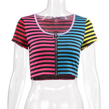 84417004135cd Summer Women Casual Tank Top Ladies Slim Print Crop Top T-Shirt Sportwear  Rainbow zipper