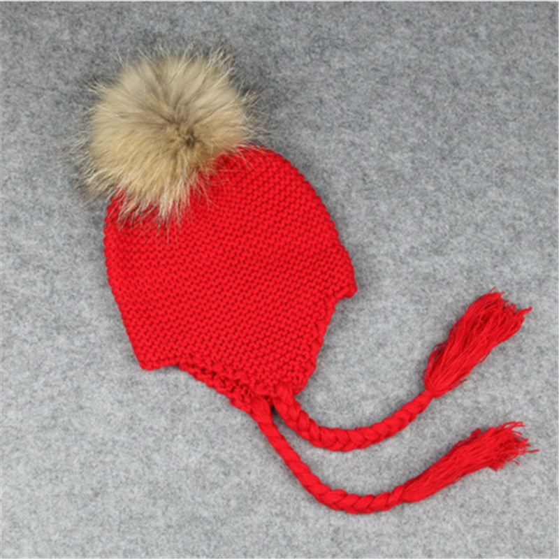Novelty Crochet Children Winter Hats Warm Kids Hats Real Fur Pom Pom Beanie Hat for Boys and Girls Child Casquette For 2-12Y warm winter fun cos baby hat for girls and boys with real raccoon fur pom pom hat kids size 42 52cm