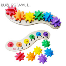 Bubles Wall Combination Gear Rotation Splicing Toys colorful Wood Toys Kids Baby Montessori Plastic & Wooden Educational Toys
