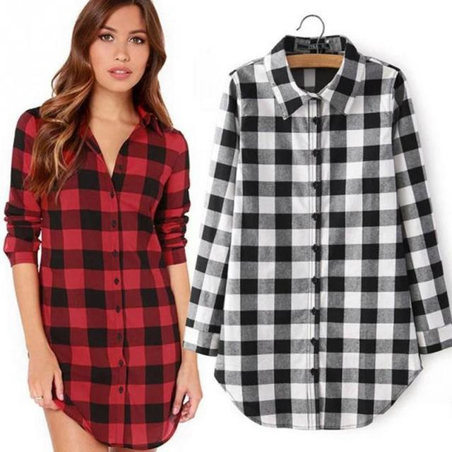 5469c59b87c8 Hot Sale Women Blouses Long Shirts Red Black and Black White Plaid Cotton  Shirt Wild Casual