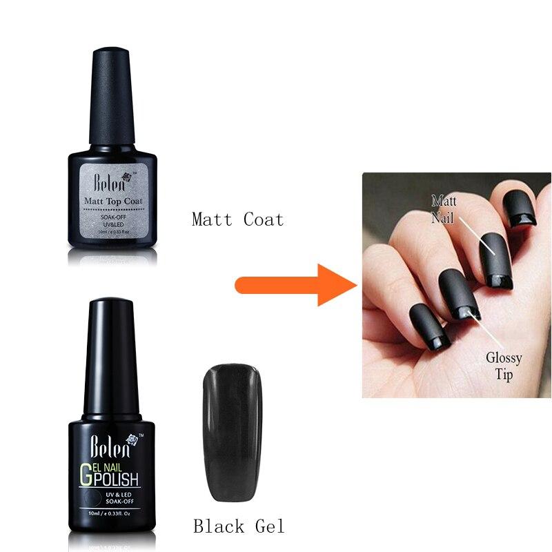 Black Gel Nail Polish: Belen 10ml Matt Matte Top Coat Nail Gel Polish Black Gel