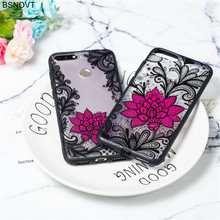 For Huawei Honor 7A Pro Case TPU Silicone Lace Flower Rose Cover Y6 2018 / Funda