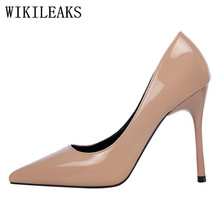 10 cm high heels shoes woman bigtree wedding shoes tacones stiletto OL fetish high heels patent leather pumps escarpins femme(China)