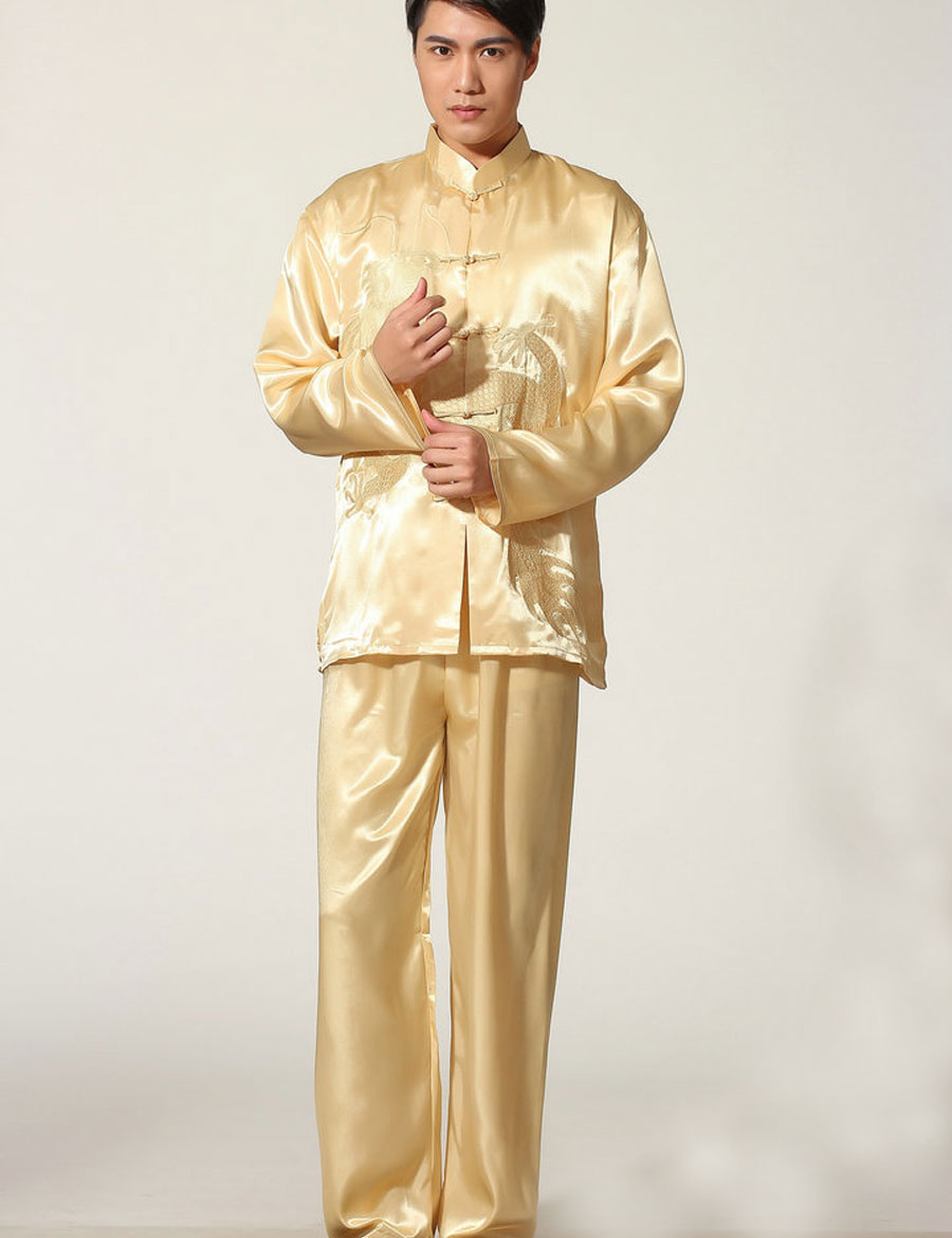 Silk Long Sleeve Men Tang Suit Top Kung Fu Tai Chi Clothes Set Uniform Shirt Blouse Pants Trousers Traditional Chinese Clothes