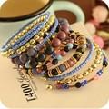 Contas Boemia do vintage Bangles 9 pçs/set pedras Coloridas Bangle & pulseira Pulseira Para mulheres jóias