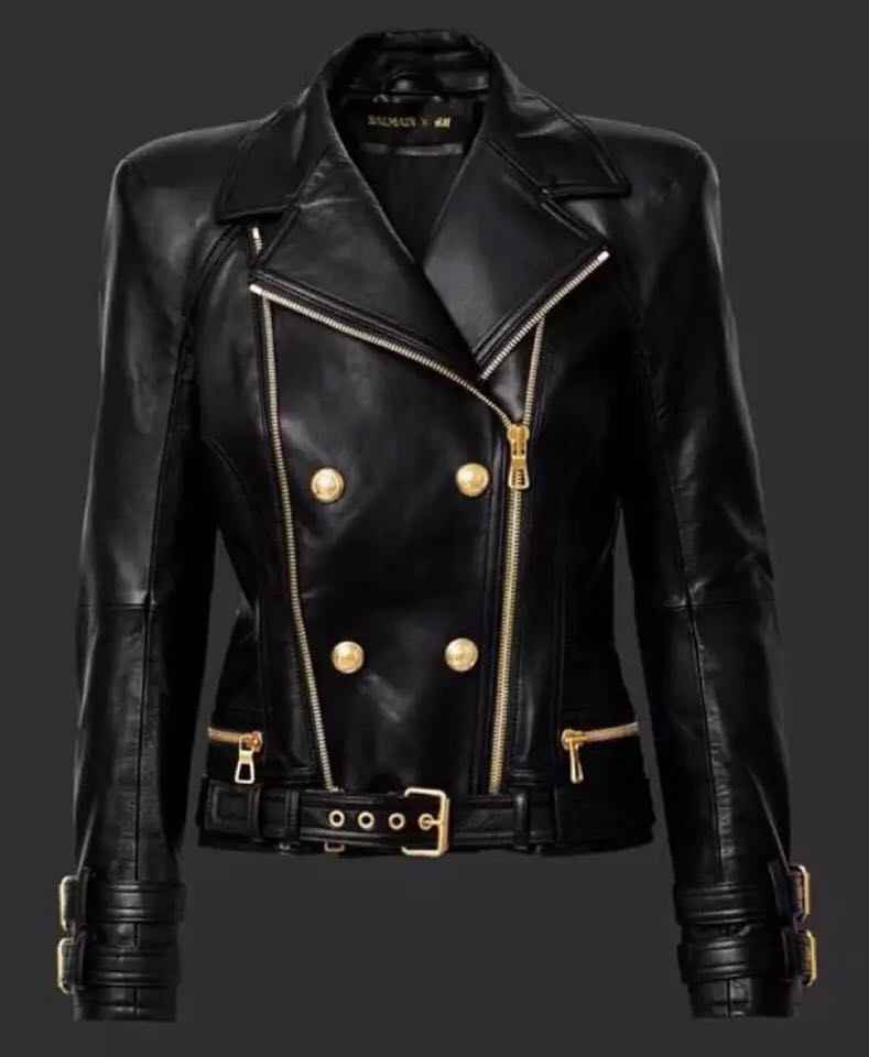 Haute couture leather cool crisp lapel super heavy double gold zippers buckle leather imported water-washed leather coat