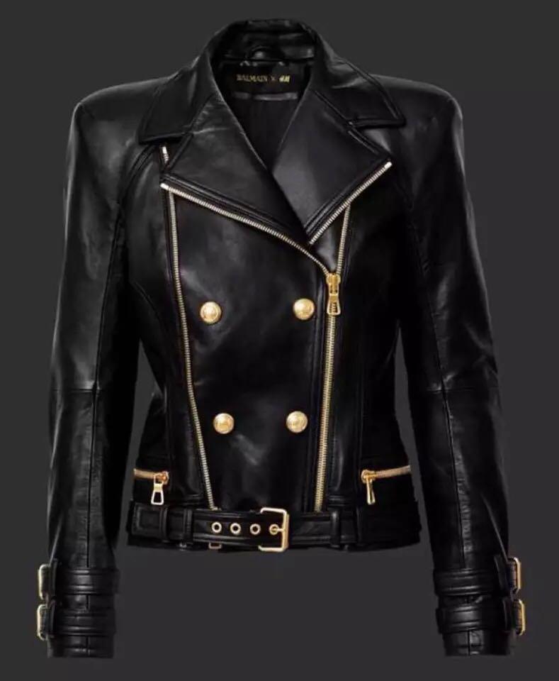 Haute Couture кожа прохладно четкие с лацканами Super Heavy двойной золотой молнии пряжки кожа импортированы промывают водой кожаная куртка