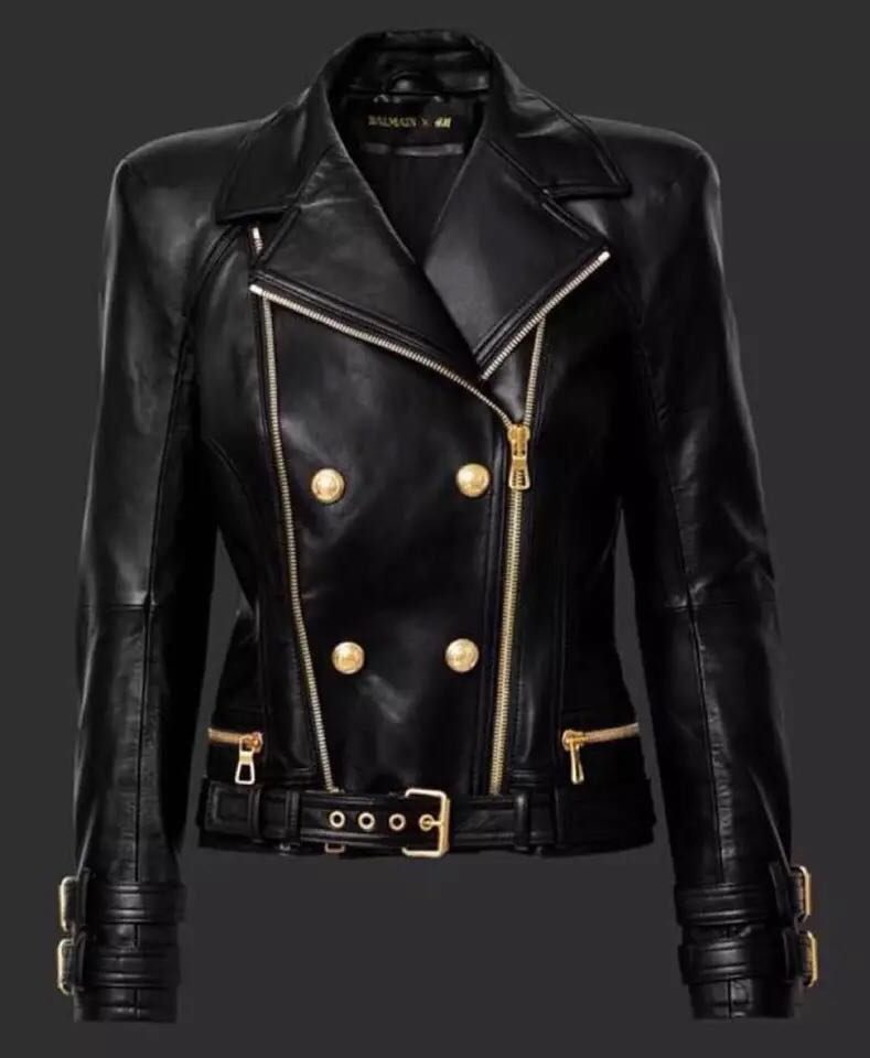 Haute couture leather cool crisp lapel super heavy double gold zippers buckle leather imported water washed leather coat