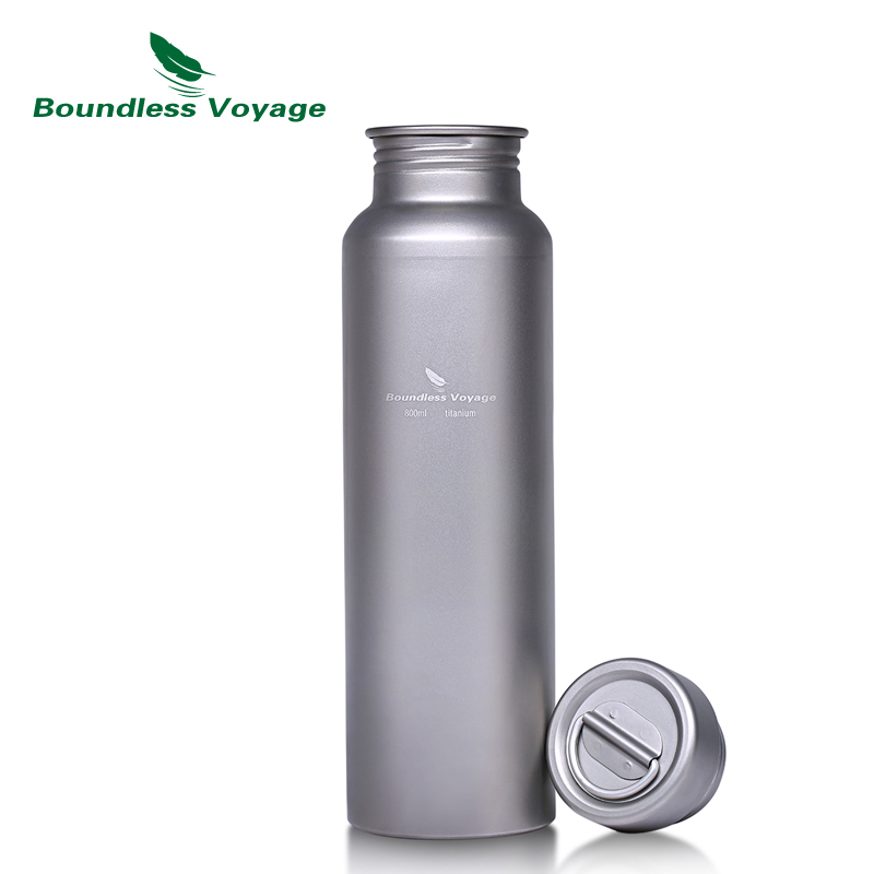 Boundless Voyage Titanium Sports Bottle with Titanium Lid Outdoor Camping Cycling Wide-mouth Water Bottle 500ml750ml/800ml pair of stylish rhinestone triangle stud earrings for women