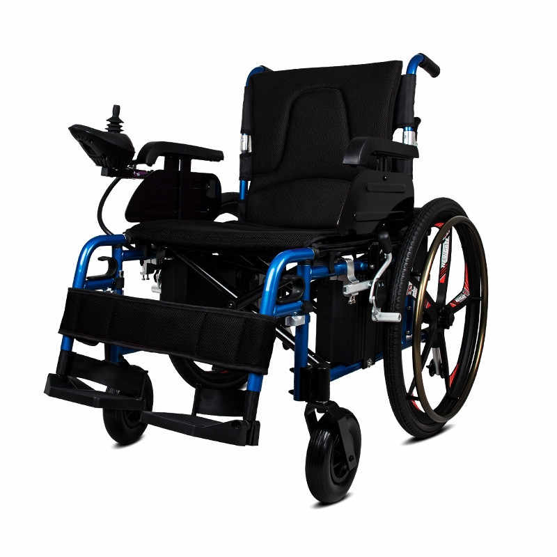 New power wheelchair adjustable footrest electric wheelchair folding wheelchair with 24 inch wheel for disabled people