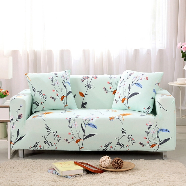 Great Light Green Pastoral Style Stretch Furniture Covers,polyester Floral Sofa  Slipcovers Cheap,multi