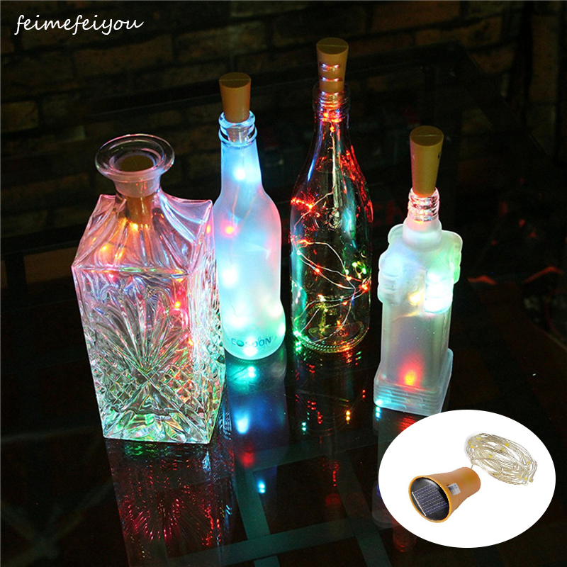 1pc Solar Powered Wine Bottle Lights, 10 LED Waterproof Cool White Copper Cork Shaped Lights For Wedding Christmas, Outdoor