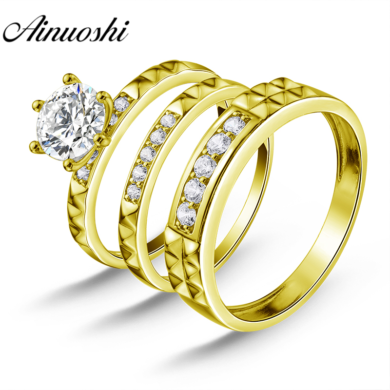AINUOSHI 5.5g Real Gold TRIO Rings Bridal Ring Set Male Band Lover Engagement Jewelry 10k Yellow Gold Couple Wedding Rings SetAINUOSHI 5.5g Real Gold TRIO Rings Bridal Ring Set Male Band Lover Engagement Jewelry 10k Yellow Gold Couple Wedding Rings Set