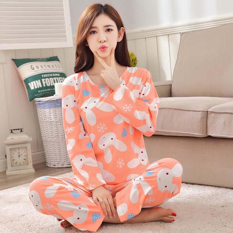 Spring Autumn Pajamas Sets Thin Carton Generation Women Long Sleepwear Suit Home Women Gift Female Sleepwear