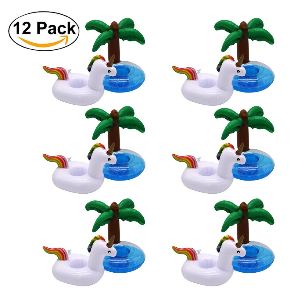 12 Pack Inflatable Float Pool Party Drink Holder - Inflatable Coaster - Swimming Floatation Toy -Party Inflatables