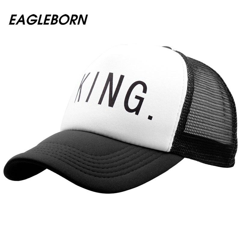[EB] 2017 new Hot Sale KING QUEEN Print Trucker Caps
