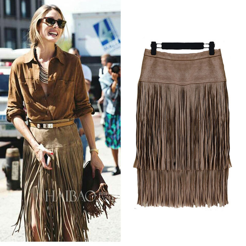 Fashion Vintage Skirts 2017 New Heavy Hierarchical High Waist Straight Leather Skirt Fringed Suede Tassel Saias Skirts Womens