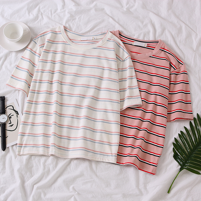Summer Korean Women Casual Loose Stripe Print T-Shirts Ulzzang Harajuku O-neck Short Sleeve Student Pink Tee Tops Poleras Mujer