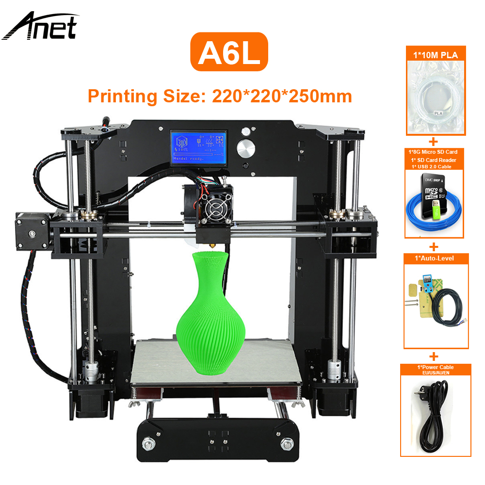 Anet A6 Impresora 3D Printer Auto Leveling A6-L Big Size Printers Reprap i3 imprimante 3d DIY Kit With Filament Gift SD Card