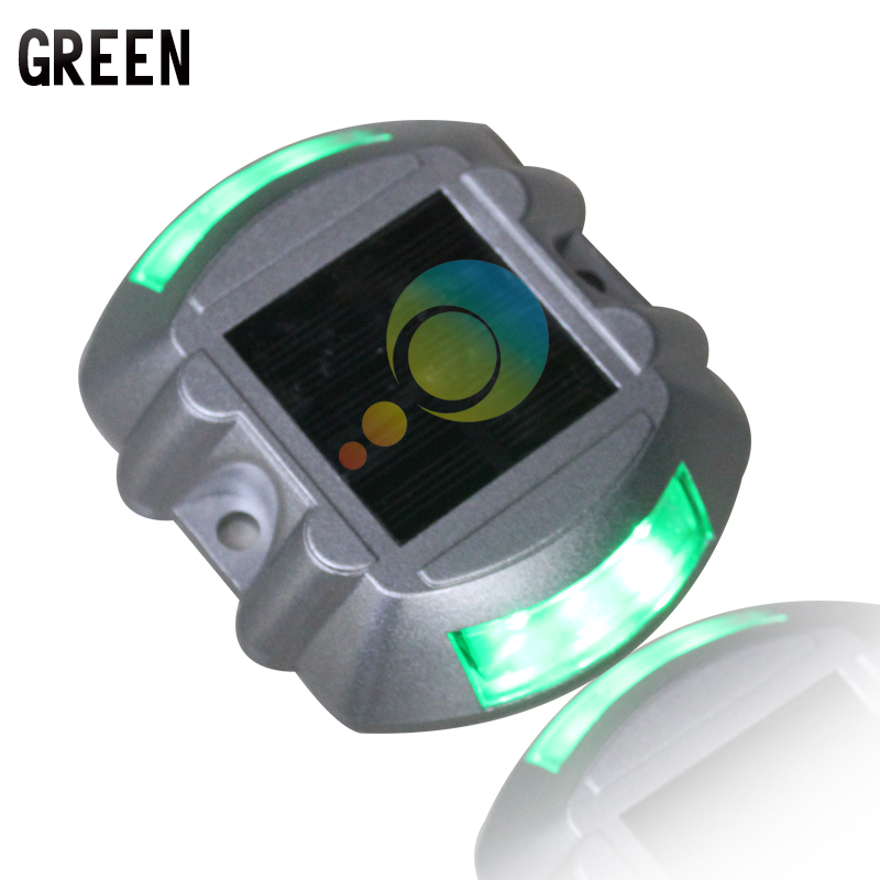 Steady Mode Road Construction Green LED Light Solar Powered Road Stud Pavement Road Marker