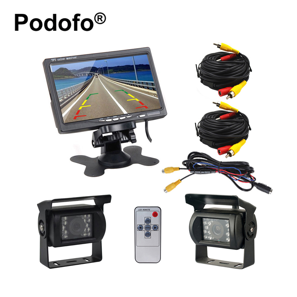 Podofo Dual Backup Camera and Monitor Kit for Bus Truck RV IR Night Vision Waterproof Rearview Camera + 7 LCD Rear View MonitorPodofo Dual Backup Camera and Monitor Kit for Bus Truck RV IR Night Vision Waterproof Rearview Camera + 7 LCD Rear View Monitor