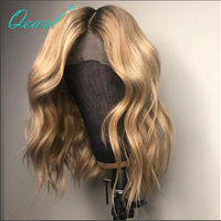Qearl Hair 150% Density Middle Part Ombre Blonde Full lace Wig Small Cap Remy Human Hair Pre Plucked Natural Hairline Baby Hair