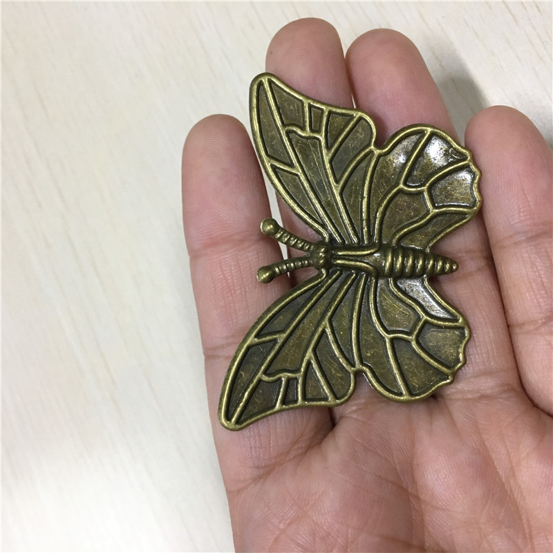 Bronze Tone Filigree Butterfly Embellishments Decorative DIY Findings,6*4cm,30PCs