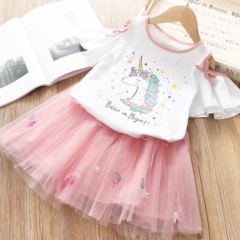 HTB1PbeCRHvpK1RjSZFqq6AXUVXaV Girls Clothing Sets 2019 Summer Princess Girl Bling Star Flamingo Top + Bling Star Dress 2pcs Set Children Clothing Dresses