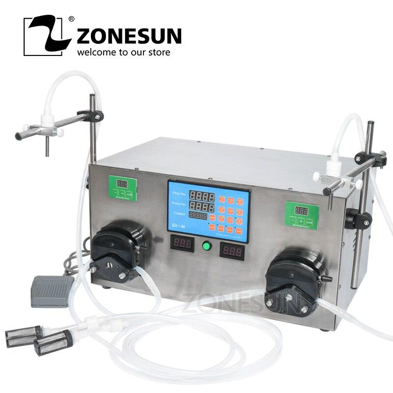 ZONESUN Double Heads Perfume Water Edible Oil Alcohol Hydrogen Peroxide Peristaltic Pump Liquid Filling Machine