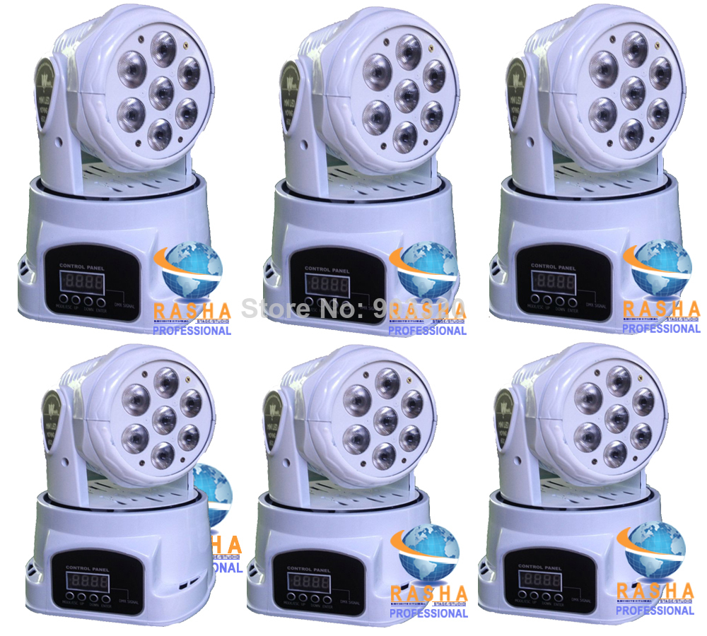 6X White Case Stock- High Quality 7pcs*12W 4IN1 RGBW MINI LED Moving Head Wash Light,ED Moving Head Light For Event,Disco Party 6pcs lot good quality 7 12w mini rgbw led moving head light laser christmas party lights 12 months warranty