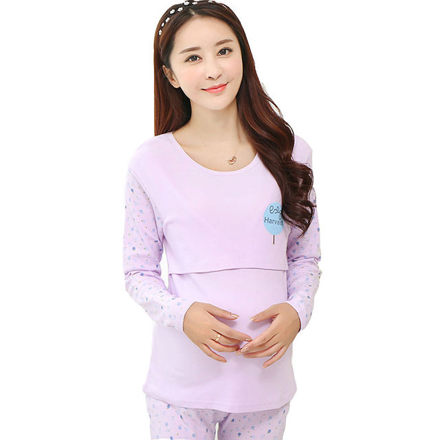 480aa708e88ba 2PCS/Sets Pregnant Women Clothing Breastfeeding Pregnancy Nightgown  Sleepwear Suit Maternity Moms Nursing Pajamas Plus