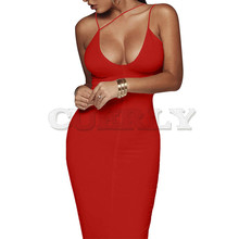 CUERLY Sexy Night Club Backless Long Dress Women V Neck Sleeveless Strap Elegant Party Bodycon Evening