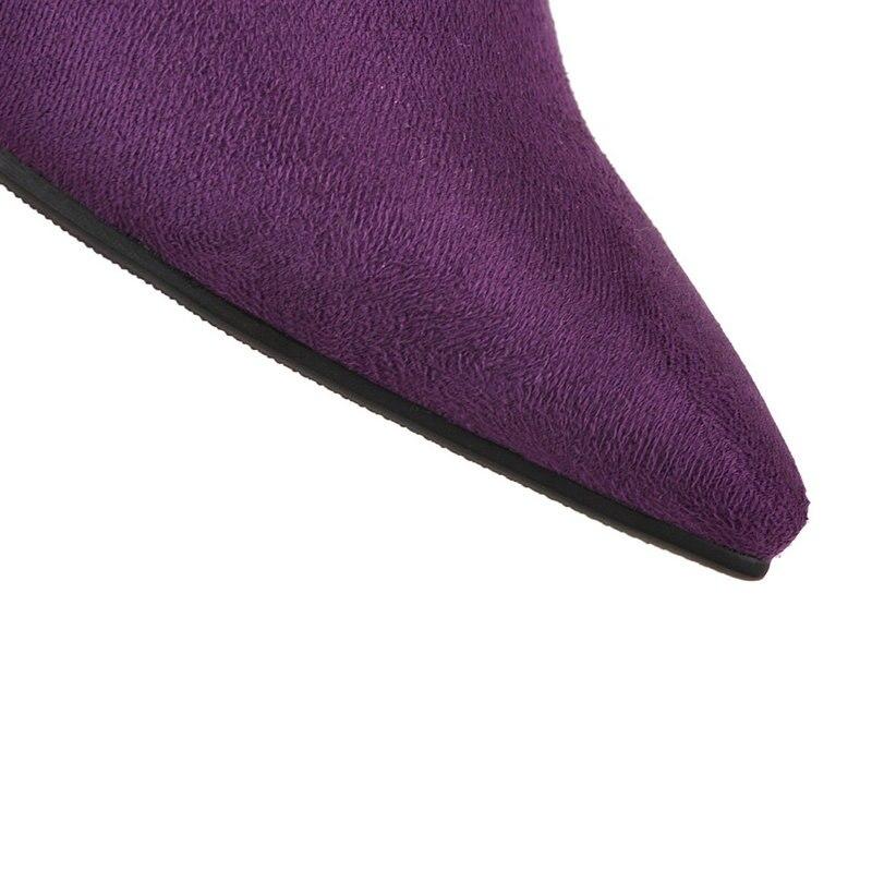 Negro 2019 Tacones Nuevo Mujer Púrpura 42 Super Gran Alta Sexy Tamaño Zapatos Botas púrpura Altos Rodilla Negro Mujeres 43 vpvqC