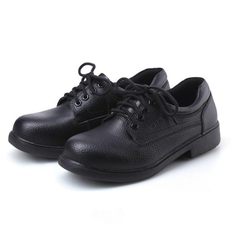 Nuevos zapatos de cocina de cuero genuino para Hombre Zapatos de cocina de Chef con punta de acero Anti kick trabajo de seguridad zapatos a prueba de agua-in Zapatos informales de hombre from zapatos    2