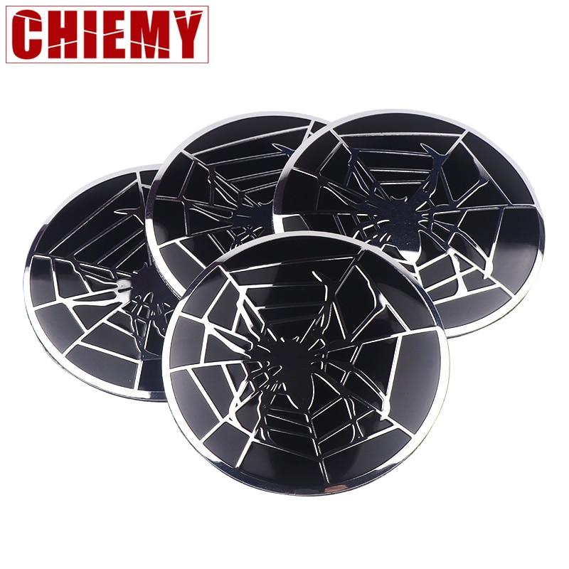 4PCS/SET Aluminium Spider Emblem Wheel Hub Center Caps Wheel Sticker For BMW AUDI Mercedes Benz Ford Hyundai Toyota Car Styling