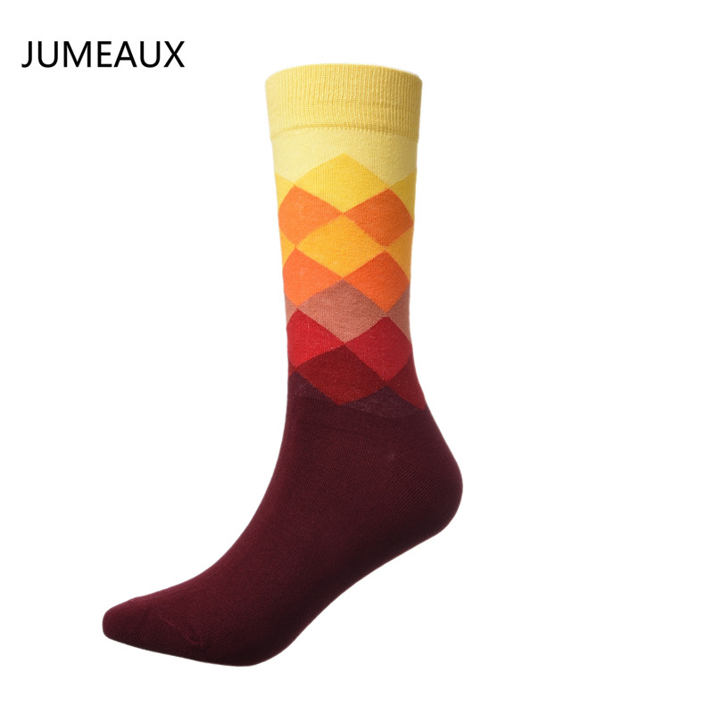 JUMEAUX 1 Pair Brand Happy Socks Gradient Color Paragraph British Style Pure Cotton Diamond Plaid Stockings Mens In Tube Socks