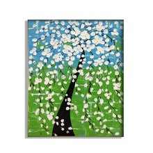 Abstract art  white cherry blossom Tree Oil Painting Impasto Palette Knife fine thick textured