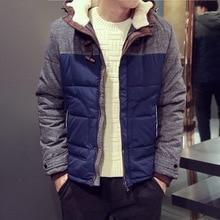 Мода 2017 г. мужские пальто с капюшоном зимняя куртка молодых мужчин Повседневная Теплая стеганая короткая куртка Тонкий мужской