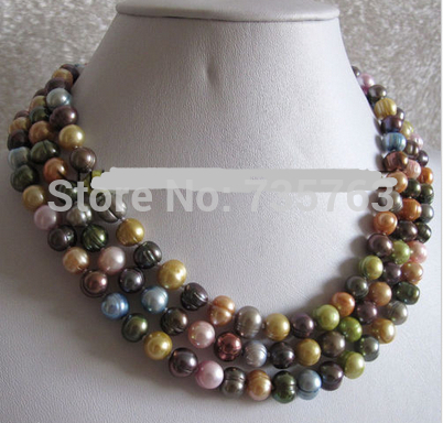 HOT 0015415 7 9mm Multi Color Freshwater Pearl Necklace