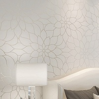3D Non Woven Wallpaper Living Room Bedroom TV Wall Paper Lotus Flower Printed High Quality Beige
