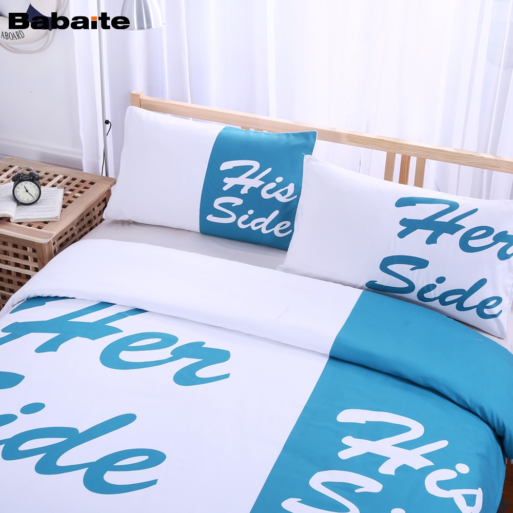Funny bed sheets - Online Shop Babaite His Her Sides Creative Funny Bedding Set No Fading Soft Duvet Cover Pillowcases Twin Full Queen King Size 3 Pieces Aliexpress Mobile