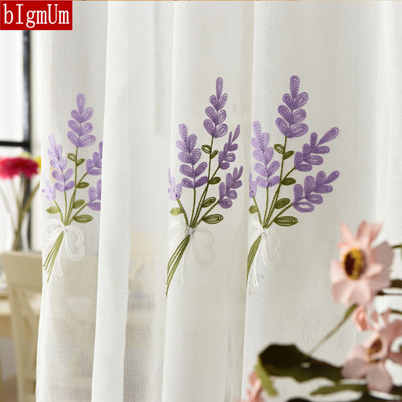 Romantic Lavender Embroidery Tulle Curtains For Kitchen Bedroom