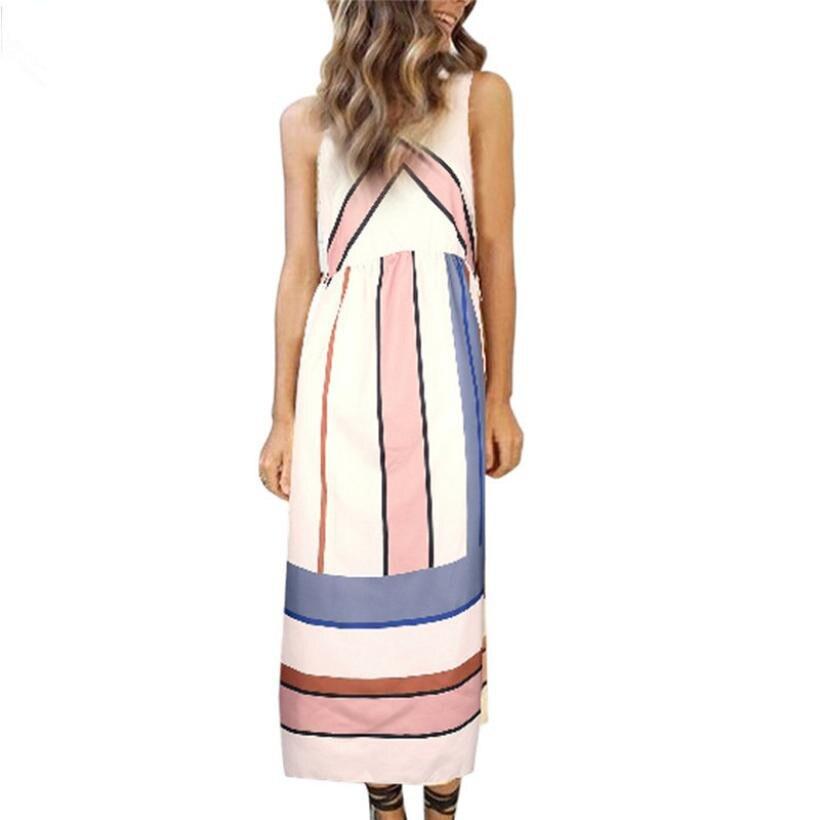 snowshine YLI Women Summer Dress Casual Party Dress Sleeveless Geometry Striped Dress free shipping